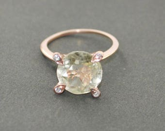 engaging Rose Gold Green Amethyst Gemstone  925 Silver Ring jewelry gift