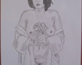 "nude drawing erotic female ""a bouquet fine art"""