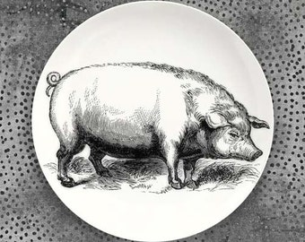 Pig plate with hand drawn wreath