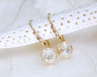Moissanite Dangle Earrings in Solid 14k Gold - Rose Cut or Brilliant Cut - Ethical Conflict Free Eco Friendly Recycled Gold