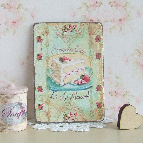 Dollhouse Miniature Cake Sign French Patisserie Picture