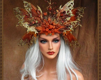 Opaque Pumkin Autumn Fairy Queen Crown**FREE SHIPPING**Costume/Photography/Masquerade/Cosplay/Weddings/Halloween