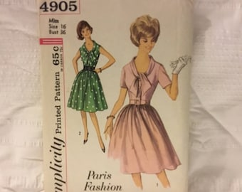 Vintage 1950s simplicity pattern 4905 - Paris Fashion one piece step in dress size 16- lowered front, high back, hourglass waist skirt.