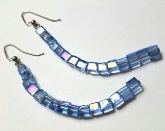Sky Pool Blue Shimmery Glass Earrings