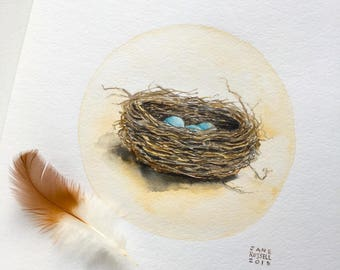 Nest Original Watercolor Painting with 3 Blue Eggs OOAK