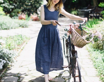 Aggie Dress in Blue Linen