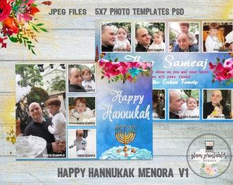 Hanukkah Card, Hanukkah Photo Card, Happy Hanukkah Card, Chanukah Card, Floral Frame Hanukkah PhotoCard, Jewish Holiday Card, Hannukah PSD