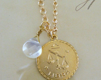 Vintage Necklace - Astrology Necklace -  Gold Necklace - Opal Glass Necklace -  October Birthstone - Handmade Jewelry
