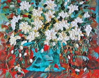 Endless Blooms  Abstract Floral Impasto Painting, Item# 124  24x24