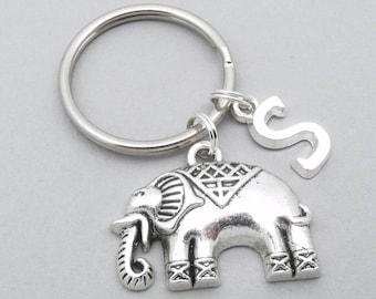 Indian elephant monogram keyring | elephant keychain | personalised elephant keyring | elephant accessory | elephant gift | initial letter