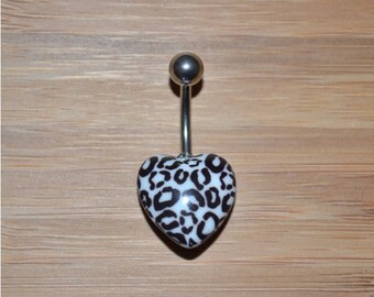 Black and White Leopard Cheetah Print Heart Shape Acrylic Belly Button Ring Navel Body Piercing Jewelry