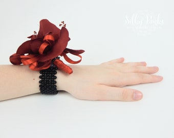 Wedding Wrist Corsage, Red & Black Prom Corsage, Silk Wedding Flower, Wedding Wrist Band