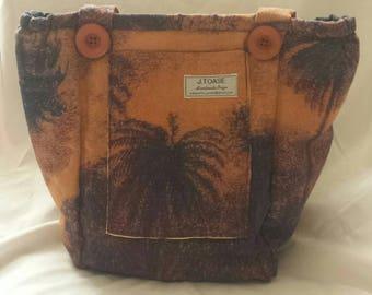 Gorgeous Handmade Tropical Sunset Vegan Shoulder Bag
