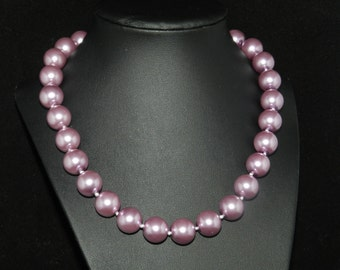 CLEARANCE *FT672 Chunky Purple Pearl Necklace  18in