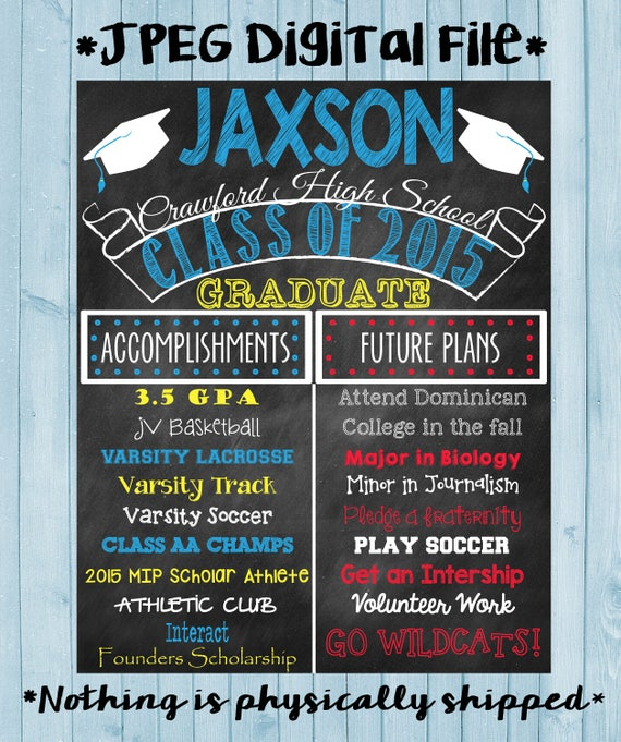 Graduation Chalkboard Poster High School Graduation College