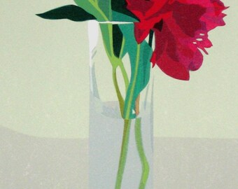 Two Peonies, limited edition serigraph