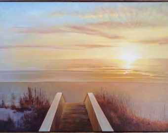 sunset beach oil on canvas original painting