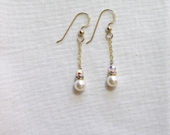 Swarovski Cream Pearl and Swarovski Crystal Earrings, Gold Filled