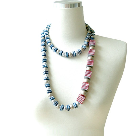 Genuine Leather Cut Out & Beads Super Long Necklace