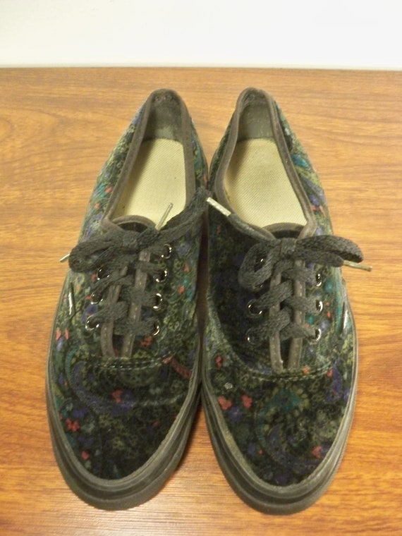 SKOOL Vintage Sneakers Made Velvet Top Women's Kicks Vans 8 Floral Shoes USA Size Skate OLD Low in nRwxErR