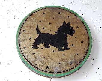 Vintage Tin, Scottie Dog, Dog Lovers Tin, Decorative Tin,  Scottie Dog, Green Tin, Storage Tin.