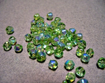 Glass Crystal Beads Bicone Faceted Light Green AB  4MM