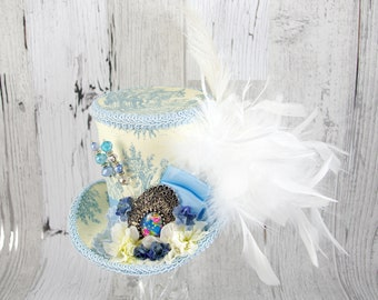 Light Blue and Cream Toile Cabochon and Flower Large Mini Top Hat Fascinator, Alice in Wonderland, Mad Hatter Tea Party, Derby