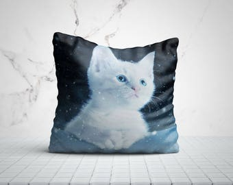 Winter Art Kitty Cat Pillow Cat Lover Gift Cats Home Decor Throw Pillows Cat Gifts Cat Mom Gifts For Her Gifts For Women