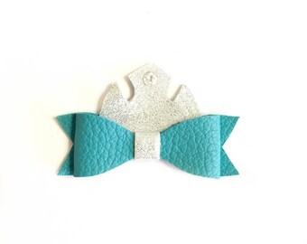 Disney princess Elsa hair bow- Disney Frozen hair bow- princess hair clip- Elsa hair clip- princess Elsa bow- leather hair clip- hair bow