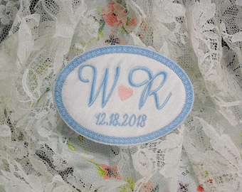 Something Blue for the bride, Wedding Gown Label, Wedding Gown Patch, Wedding Dress Label, Wedding Dress Patch, Grooms Tie Patch, Style 1010