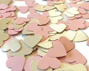Ivory and Pink Heart confetti, Ivory Satin Hearts, Wedding Decor, Bridal Showers, Baby Shower decorations, table scatter, Ivory heart decor