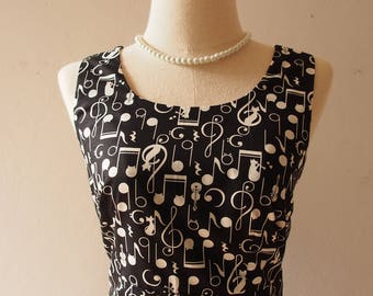 Sundress Black Music Note Dress Concert Party Black Dress Little Black Dress Swing Dance Dress Vintage Inspired Summer Dress Wedding Dress