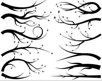 Branches Clipart Vector Branches Clip Art Tree Branch Silhouette Clipart Leaves Digital Branch Scrapbooking Invitations Leaf Clipart Foliage