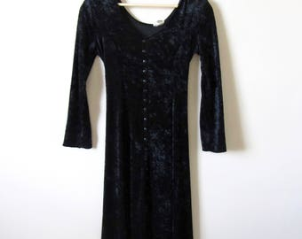 80s Long Sleeve Black Velvet Button Up Dress