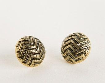 ZigZag Circle Studs- Button Earrings, Tribal Earrings, Gold Earrings