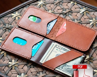 Leather Vertical Card Holder with Cash Strap Digital PDF Template - Downloadable Leather Pattern (8.5 x 11)