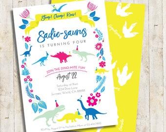 Dinosaur Girl Birthday Invitation | Dinosaur Party Invitation | Jurassic World Park Invitation | Floral Dinosaur Party Printable Digital