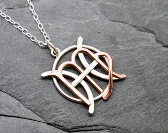Pisces Virgo zodiac necklace sterling silver and polished copper