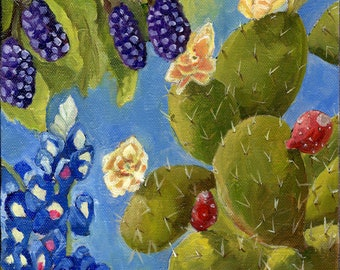 Texas Spring - Original oil painting | Bluebonnets Dewberries Prickly Pear Cactus flowers and fruit - small square art