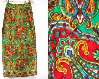 """7 DOLLAR SALE---Vintage 60's Multi Color Paisley Pattern Quilt Maxi Skirt 26"""" Waist"""