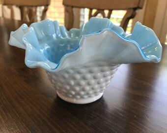 Antique Hobnail Aqua bowl