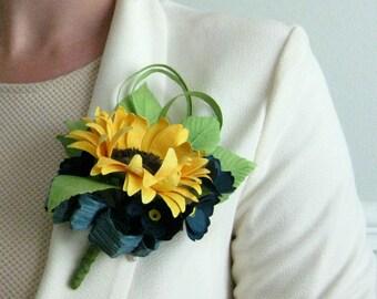 Handmade Paper Sunflower Corsage