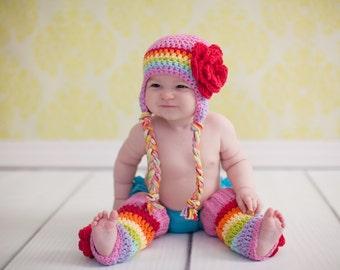girls winter hat, rainbow hat, girls rainbow hat, girls hat, little girls hat, crochet girl hat, baby girl hat, kids hat, crochet kids hat