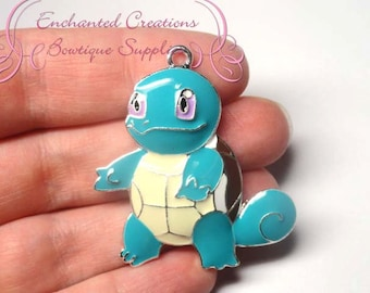 Pokemon Teal Squirtle Turtle Inspired Chunky Pendant, Keychain, Bookmark, Zipper Pull, Chunky Jewelry, Purse Charm