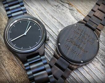 Groomsmen Watch, Engraved Minimalist Mens Wood Watch, Custom Groomsmen Gifts, Wood Watches, Wooden Watch, Dad Gift, Men Gift, Anniversary