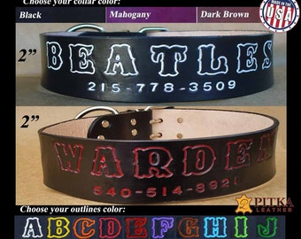 Big Dog Collar - Custom made Leather Dog collar Brown - Personalized 2 inch dog collar made in USA - Durable Leather Dog Collar in Mahogany