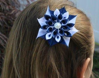 Flower Girl Hair Clip, Kanzashi Flower Hair Bow, Hair Accessories, Hair Bow, Baby Hair Clip, White, Navy, Baby Girl Hair Bow