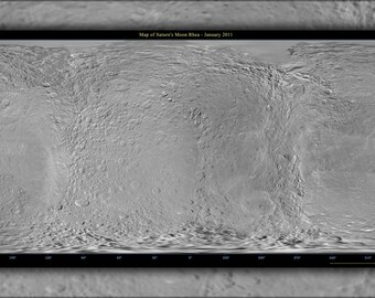 Poster, Many Sizes Available; Map Of Saturn Moon Rhea Using Cassini & Voyager Data
