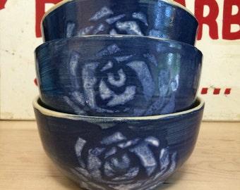 Indigo Cabbage Rose | Handmade Ceramic Bowl | Blue and White | Floral