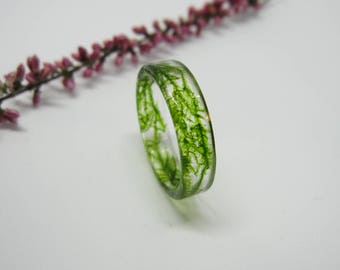 Natural Moss Ring, Resin moss ring, Moss terrarium, Real moss ring, Green moss ring, Real moss jewelry, Moss in resin, Natural moss